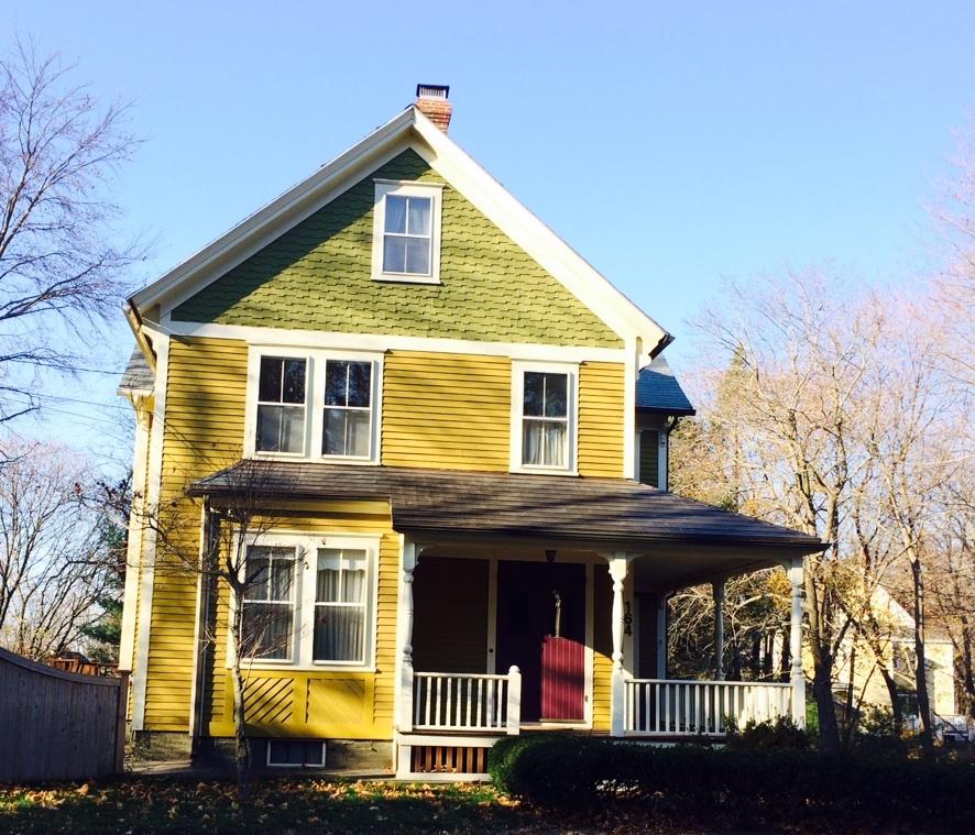 yellow brick house red door. yellowgreenhouse yellow brick house red door e